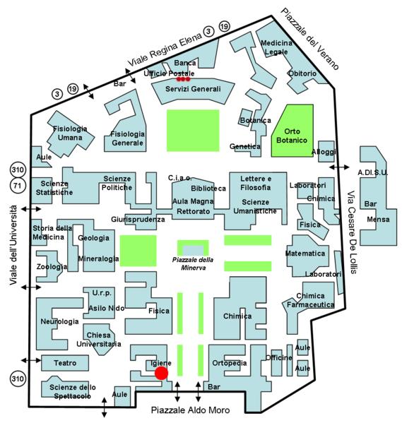 Mappa facoltà nella città universitaria